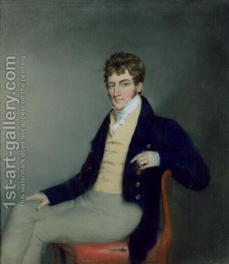 Portrait of a Gentleman in a Yellow Waistcoat, c.1795 by James Sharples - Reproduction Oil Painting