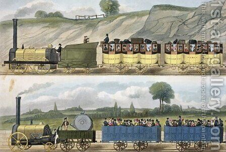 A Train of the First Class top and a Train of the Second Class bottom from Coloured View of the Liverpool - Manchester Railway, engraved by S.G. Hughes, published by Ackermann & Co., London, 1832-33 by (after) Shaw, Isaac - Reproduction Oil Painting