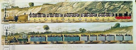 Travelling on the Liverpool and Manchester Railway A Train of the First Class of Carriages with the Mail, and A Train of the Second Class for Outside Passengers, engraved by S.G. Hughes, pub. by R. Ackermann, 1831 by (after) Shaw, Isaac - Reproduction Oil Painting