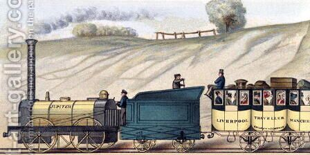 Travelling on the Liverpool and Manchester Railway, detail of the locomotive Jupiter, engraved by S.G. Hughes, c.183 by (after) Shaw, Isaac - Reproduction Oil Painting