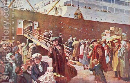 Emigrants bound for Canada aboard RMS Empress, Liverpool, 1913 by Charles Mills Sheldon - Reproduction Oil Painting