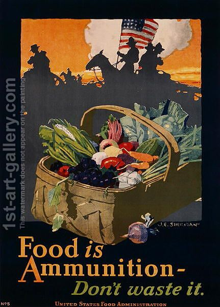 American First World War Poster by J.F. Sheridan - Reproduction Oil Painting
