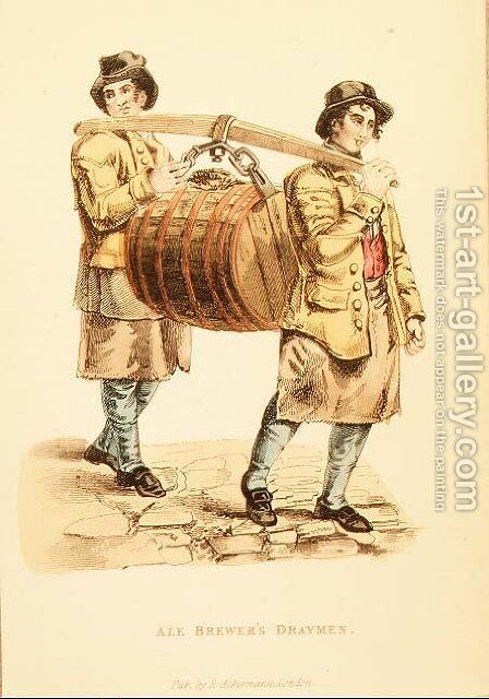Ale Brewers Draymen from Ackermanns World in Miniature,1821-27 by (after) Shoberl, Frederic - Reproduction Oil Painting