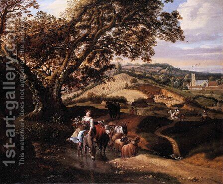 A Pastoral Landscape, 1684 by Jan Siberechts - Reproduction Oil Painting