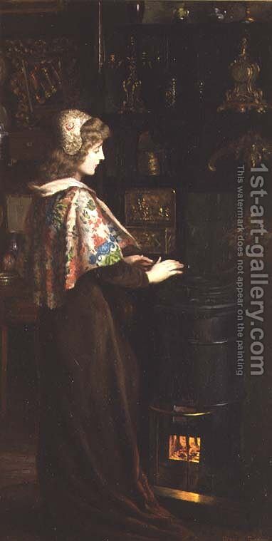 At the Studio Stove, 1902 by Herbert Sidney - Reproduction Oil Painting
