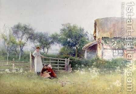 Picking meadow Flowers, 1897 by Benjamin D. Sigmund - Reproduction Oil Painting