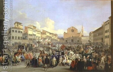 View of Piazza Santa Croce on the occasion of a carnival, 1846 by Giovanni Signorini - Reproduction Oil Painting