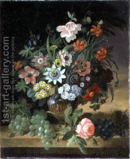 Flowers and Fruit, 1827 by James Sillett - Reproduction Oil Painting