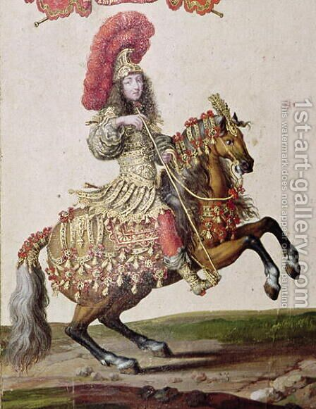 Louis XIV 1638-1715 as a Roman Emperor, from Carrousel de 1662, c.1662 by Israël Silvestre the Younger - Reproduction Oil Painting