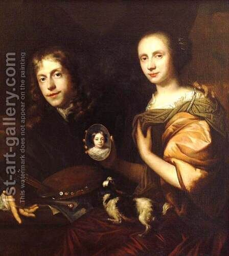 Self-Portrait with His Wife, Maria de Kinderen 1674 by Jan de Baen - Reproduction Oil Painting