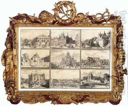 Nine Images of Public Buildings of Delft 1729 by Coenraet Decker - Reproduction Oil Painting