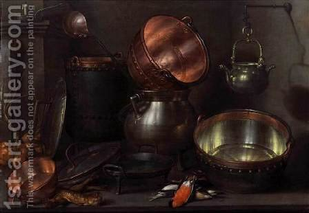 Kitchen Still-Life 1608-10 by Cornelis Jacobsz Delff - Reproduction Oil Painting