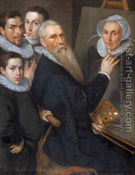 Portrait of the Artist and His Family c. 1590 by Jacob Willemsz I Delff - Reproduction Oil Painting