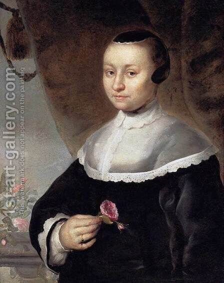 Young Woman with a Rose by Jacob Willemsz II Delff - Reproduction Oil Painting