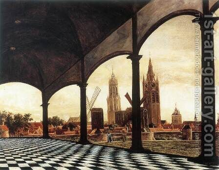 A View of Delft through an Imaginary Loggia 1663 by Daniel Vosmaer - Reproduction Oil Painting