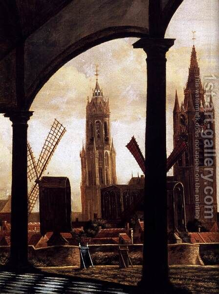 A View of Delft through an Imaginary Loggia 1663 detail by Daniel Vosmaer - Reproduction Oil Painting