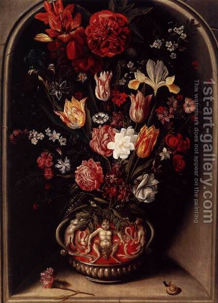 Flower Vase in a Niche c. 1615 by Jacob Woutersz Vosmaer - Reproduction Oil Painting
