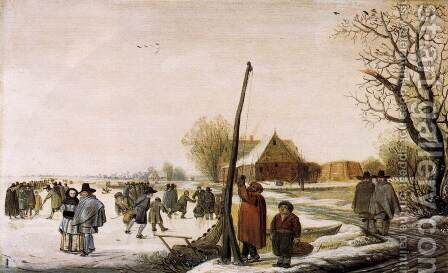 Landscape with Frozen River c. 1655 by Barent Avercamp - Reproduction Oil Painting