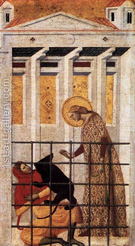 St Colomba Saved by a Bear 1340s detail by Giovanni Baronzio - Reproduction Oil Painting