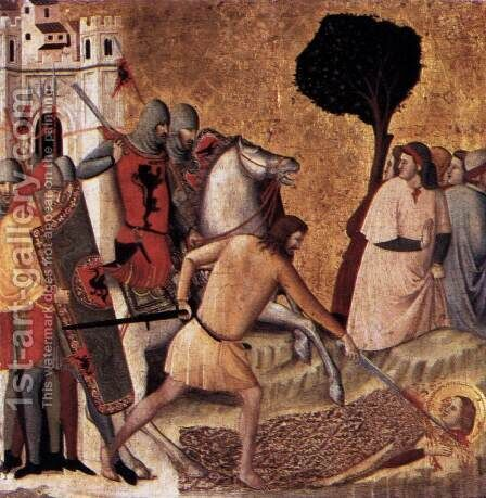 Scenes from the Life of St Colomba Beheading of St Colomba 1340s by Giovanni Baronzio - Reproduction Oil Painting