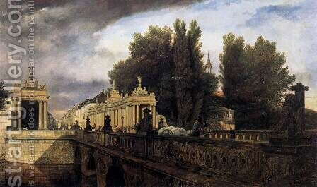 Königsbrücke and Königskolonnade 1853 by Eduard Gartner - Reproduction Oil Painting