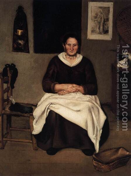 Old Woman Seated by Antonio Puga - Reproduction Oil Painting