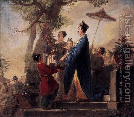The Empress of China Culling Mulberry Leaves c. 1773 by Bernhard Rode - Reproduction Oil Painting