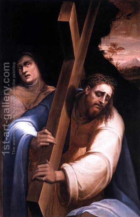 Carrying the Cross by Giovanni de' Vecchi - Reproduction Oil Painting