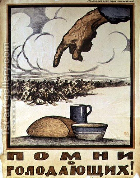 Remember the Hungry, poster, 1921 by Ivan Simakov - Reproduction Oil Painting