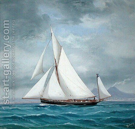 The Yawl ONYX, 52 tons, 1889 by Antonio de Simone - Reproduction Oil Painting