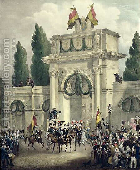 Entry of Prince Leopold of Saxe-Cobourg-Gotha 1790-1865 into Brussels, 21st July 1831 by Gustave Adolphe Simoneau - Reproduction Oil Painting
