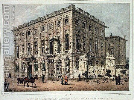 The Cafe Amitie and the Old Hotel du Prince Frederic, Brussels, after the Fighting of 23rd-26th September 1830, engraved by Jean Baptiste Madou 1796-1877 by Gustave Adolphe Simoneau - Reproduction Oil Painting