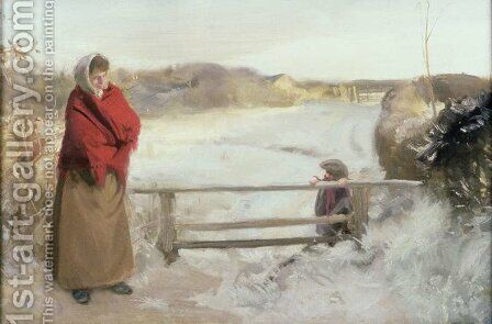 Snow Scene by Charles Sims - Reproduction Oil Painting