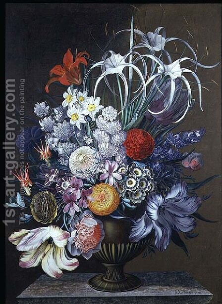 Still life of flowers by J.A. Simson - Reproduction Oil Painting