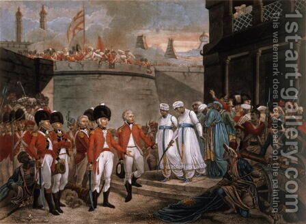 The Surrender of Two Sons of Tippoo Sahib 1749-99 as hostages in reparation for the war against Britain, 1789 by Henry Singleton - Reproduction Oil Painting