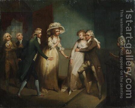 Camilla fainting in the arms of her father, illustration of a scene from Camilla, or A Picture of Youth, published in 1796 by Henry Singleton - Reproduction Oil Painting