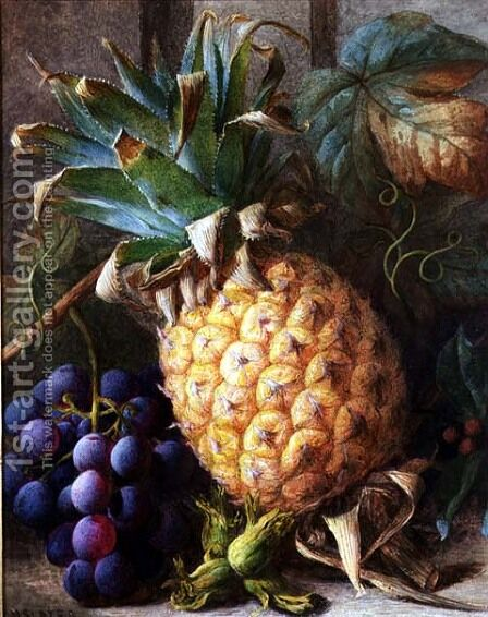 Still Life of a Pineapple and Grapes by Charles H. Slater - Reproduction Oil Painting