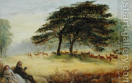 Lovers in Richmond Park Windsor Park by James Smetham - Reproduction Oil Painting