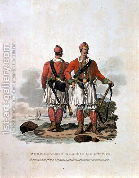Foreign Corps in the British Service, Privates of the Greek Light Infantry Regiment, from Costumes of the Army of the British Empire, according to the last regulations 1812, engraved by J.C. Stadler, published by Colnaghi and Co. 1812-15 by Charles Hamilton Smith - Reproduction Oil Painting