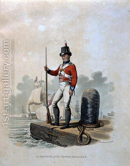 A Private of the Royal Marines, from Costumes of the Army of the British Empire, according to the last regulations 1812, engraved by J.C. Stadler, published by Colnaghi and Co. 1812-15 by Charles Hamilton Smith - Reproduction Oil Painting