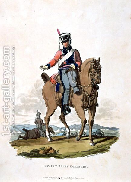 Cavalry Staff Corps 1813, from Costumes of the Army of the British Empire, according to the last regulations 1812, engraved by J.C. Stadler, published by Colnaghi and Co. 1812-15 by Charles Hamilton Smith - Reproduction Oil Painting