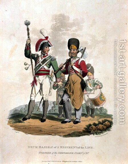 Drum Major and Co of a Regiment, of the Line with Pioneer of the Grenadier Company of D, from Costumes of the Army of the British Empire, according to the last regulations 1812, engraved by J.C. Stadler, published by Colnaghi and Co. 1812-15 by Charles Hamilton Smith - Reproduction Oil Painting