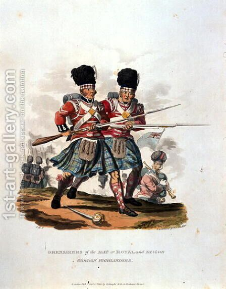 Grenadiers of the 42nd or Royal and 141st or, Gordon Highlanders, from Costumes of the Army of the British Empire, according to the last regulations 1812, engraved by J.C. Stadler, published by Colnaghi and Co. 1812-15 by Charles Hamilton Smith - Reproduction Oil Painting