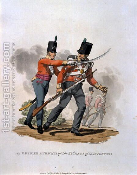 An Officer and Private of the 53rd Regiment of Light Infantry, from Costumes of the Army of the British Empire, according to the last regulations 1812, engraved by J.C. Stadler, published by Colnaghi and Co. 1812-15 by Charles Hamilton Smith - Reproduction Oil Painting