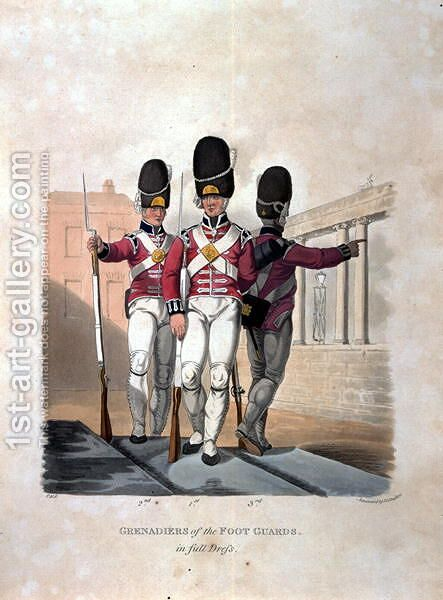 Grenadiers of the Foot Guards in Full Dress, from Costumes of the Army of the British Empire, according to the last regulations 1812, engraved by J.C. Stadler, published by Colnaghi and Co. 1812-15 by Charles Hamilton Smith - Reproduction Oil Painting