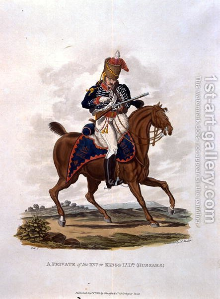 A Private of the 15th, or Kings Hussars, from Costumes of the Army of the British Empire, according to the last regulations 1812, engraved by J.C. Stadler, published by Colnaghi and Co. 1812-15 by Charles Hamilton Smith - Reproduction Oil Painting