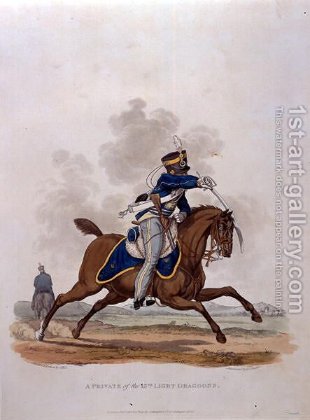 A Private of The 13th Light Dragoons, from Costumes of the Army of the British Empire, according to the last regulations 1812, engraved by J.C. Stadler, published by Colnaghi and Co. 1812-15 by Charles Hamilton Smith - Reproduction Oil Painting