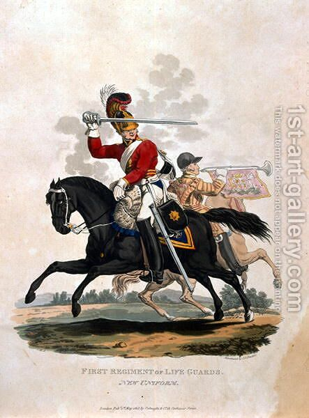 Soldier from the First Regiment of Life Guards, from Costumes of the Army of the British Empire, according to the last regulations 1812, engraved by J.C. Stadler, published by Colnaghi and Co. 1812-15 by Charles Hamilton Smith - Reproduction Oil Painting