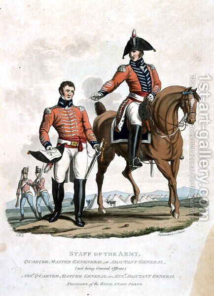 Quarter Master General and Assistant Quarter Master General, from Costumes of the Army of the British Empire, according to the last regulations 1812, engraved by J.C. Stadler, published by Colnaghi and Co. 1812-15 by Charles Hamilton Smith - Reproduction Oil Painting