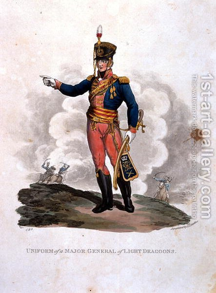 Uniform of a Major General of Light Dragoons, from Costumes of the Army of the British Empire, according to the last regulations 1812, engraved by J.C. Stadler, published by Colnaghi and Co. 1812-15 by Charles Hamilton Smith - Reproduction Oil Painting